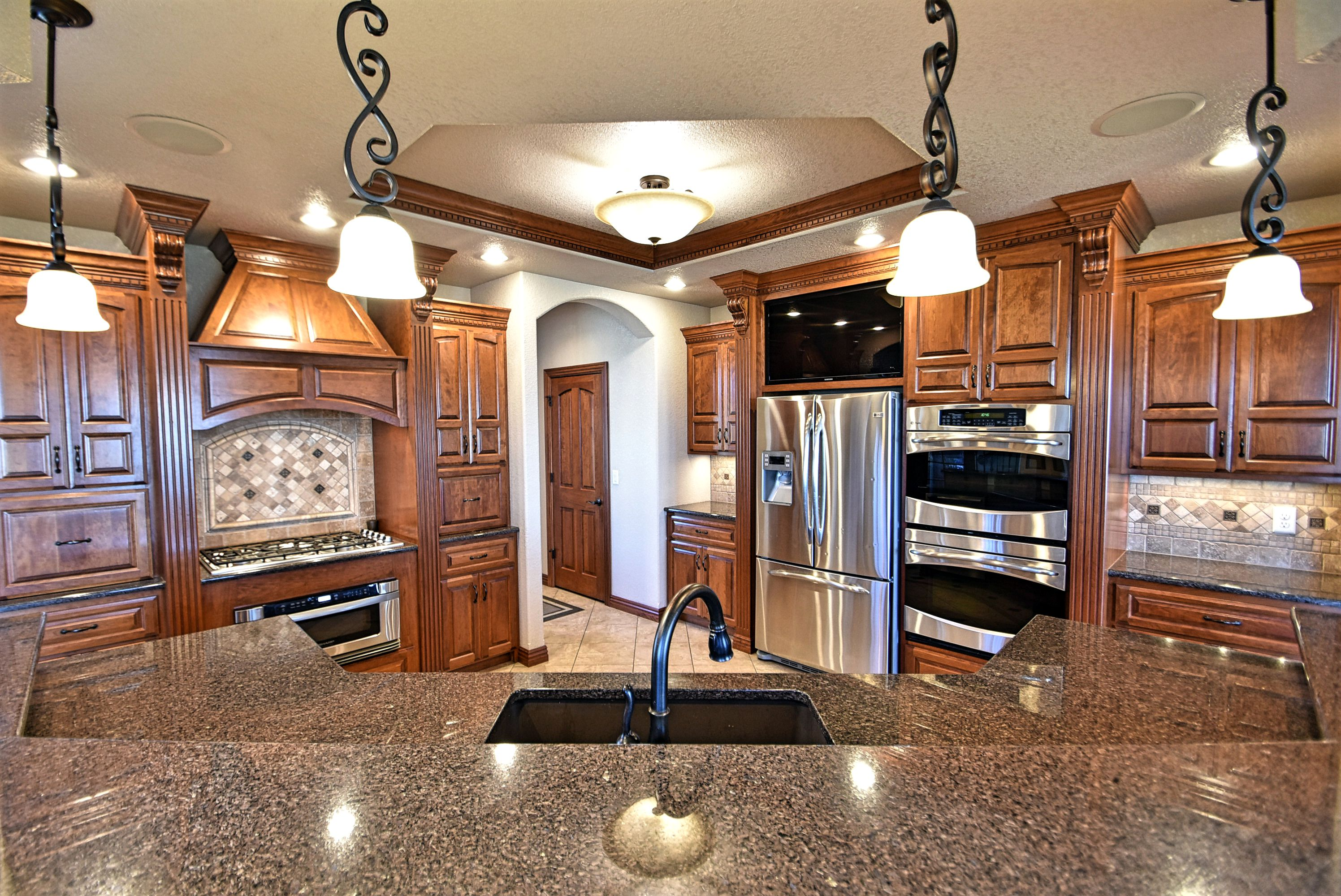 Open kitchen with large island.