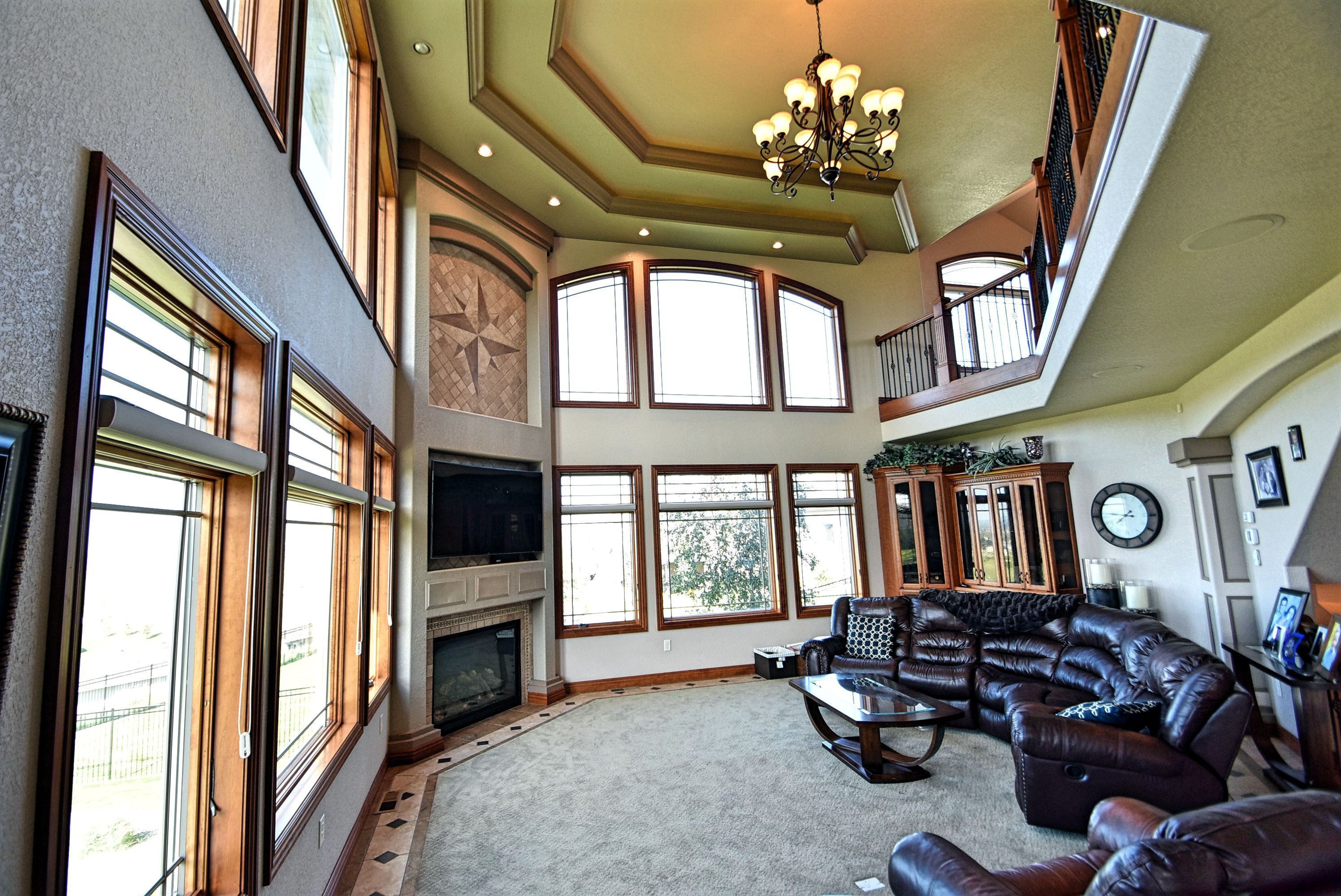 Two story family room.